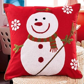 Christmas Style Snowman and Snowflake Pattern Pillow