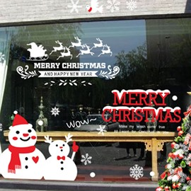 Merry Christmas Snowman Cute Wall Sticker