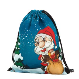 Drawstring Bag Travel Christmas Pattern Sports Portable Backpack