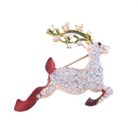 Holiday Christmas Deer Jumping Brooch Pin Jewelry Gift
