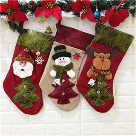 Christmas Tree Classic Non-Woven Fabric and Wool Red Christmas Stocking