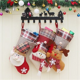 Grid and Hat Decoration Classic Non-Woven Fabric and Wool Christmas Stocking