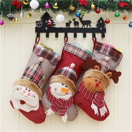 Scarf Snowman and Deer Classic Non-Woven Fabric and Wool Christmas Stocking