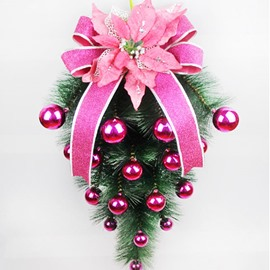 Christmas Upside Down Trees Decorations with Big Flowers 60cm