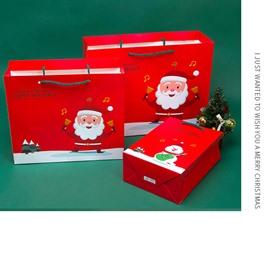 Christmas Santa Claus and Snowman 2-size Oblong Gift Bag and Box