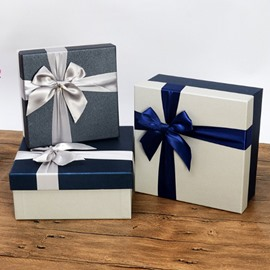 Beautiful Ribbon Bowknot 3-size Square Plain Gift Bag and Box