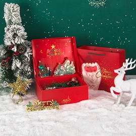 Musical Delicate Christmas Paper-cut Santa Clause Gift Bag and Box