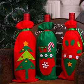 Christmas Tree and Santa Red Wine Bottle Covers for Party Festival