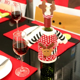 Reindeer Knitted Sweater with Hat Red Wine Bottle Cover for Christmas Decorations