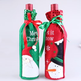 Santa and Snowman Christmas Wine Bottle Covers for Dinner Party Kitchen Decoration