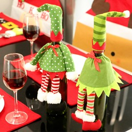 Red Wine Bottle Sweater with Hat for Christmas Party Festival Decorations