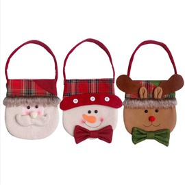 Retro Plaid Santa Snowman Reindeer Pattern Christmas Bag