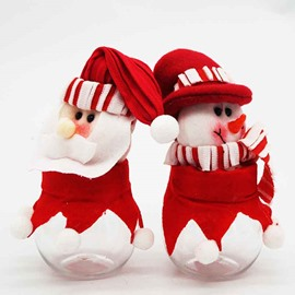 Red and White Santa Claus and Snowman Christmas Candy Jar