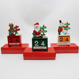 Mini Calendar Wooden Desktop Christmas Decoration Gift
