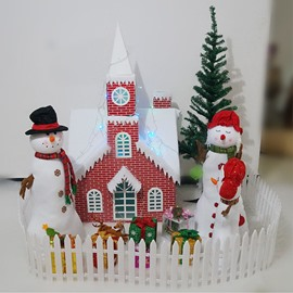 3.6/4.6 Feet Red Brick Paper Christmas Castle Full of Snow Decoration