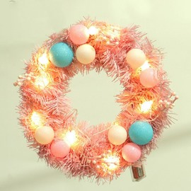 Soft Pink Macaron Decorated with Lights Christmas Wreath