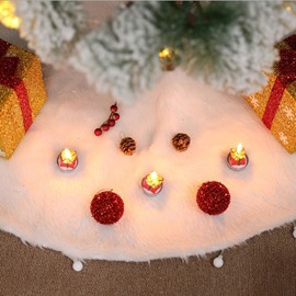 Snowy White Plush Tree Skirt for Christmas Decoration