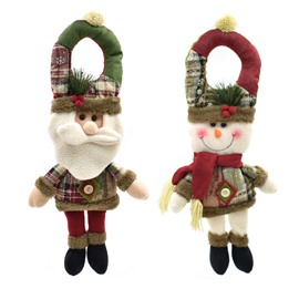 3D Furry with Pine Leaves Tall Christmas Doll Door Decor