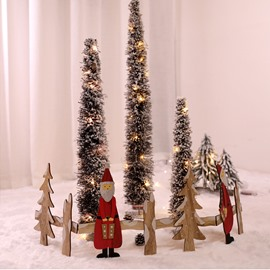 Novel Santa Claus Christmas Tree Wooden Fence