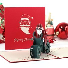 3D Cool Santa Claus Riding a Motorcycle Christmas Card
