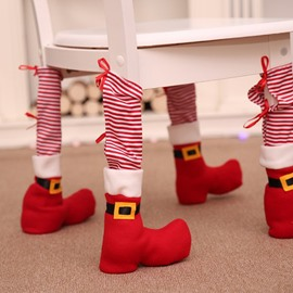 Striped Chair Leg Socks Christmas Decoration Set of 4