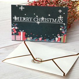 Beautifully Patterned Christmas Flat Folding Card Set of 6