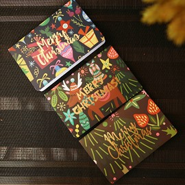 Creative Hot Stamping Fireworks Christmas Greeting Card