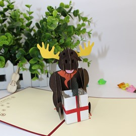 3D Christmas Card with Gift Black Reindeer