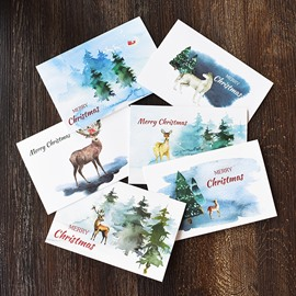 Retro Creative Watercolor Elegant Reindeer Christmas Card