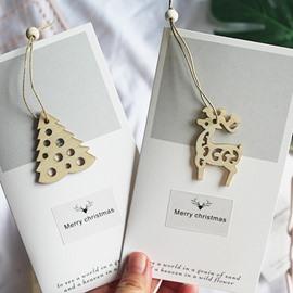 4 Pieces Wooden Pendant Grey Christmas Card
