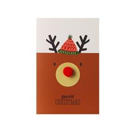 Cute Hair Ball Red Nose Reindeer Christmas Card