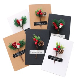 6 Pieces of Kraft Paper Christmas Card with Pine Branch