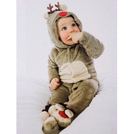 Cute Christmas Reindeer Children's One-piece Pajamas