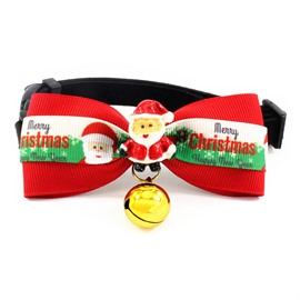Smiling Santa Claus Red Green Contrast Christmas Pet Bow Tie