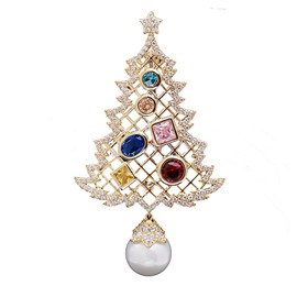 Pearl Micro-embellished Zircon Christmas Tree Pine Brooch