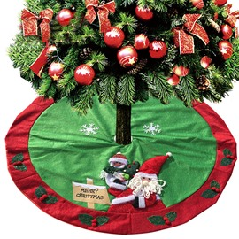 3D Santa Claus Classic Red and Green Tree Skirt