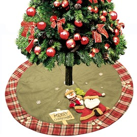 Santa Claus Snowman Grid Edge Tree Skirt