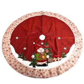 Snowman Pattern Snowflakes Edge Soft Tree Skirt