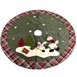 Snowman Grey-green Background Grid Edge Tree Skirt