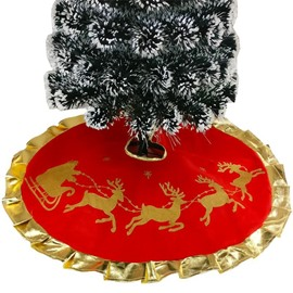 Gorgeous Red Golden Reindeer Curled Hemming Tree Skirt