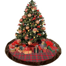 Classic Plaid Cloth Brown Plush Edge Tree Skirt