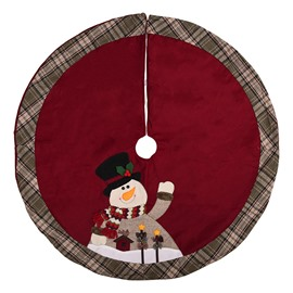Snowman Red Background Plaid Edge Tree Skirt