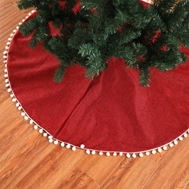 50' Red Linen with Small White Ball Tree Skirt