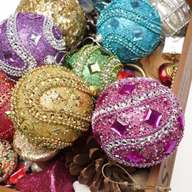 Stick Diamond Gold Christmas Ball Decoration Foam Hanging Ball