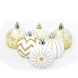 30 Pack White Gold Barrel Painted Christmas Ball