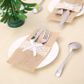 Christmas Lace Bowknot Linen Tableware Storage Bag