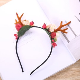 Natural Forest Antler and Christmas Berry Hairband