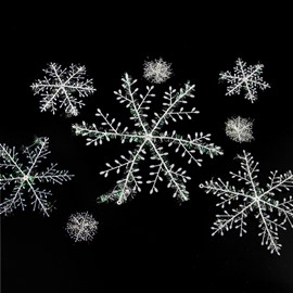 Christmas Ornaments Plastic Brushed Snowflakes Christmas Tree Hanging Window Display Dress Up