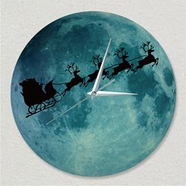 Moon Clock Luminous Fluorescent Night Wall Clock Christmas Elk Mute Clock