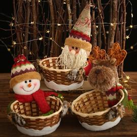 Christmas Rattan Storage Baskets Candy Basket Christmas Decor and Gifts